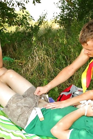 Threesome Boy Scouts Harry, Lucas and Diego outdoor fucking