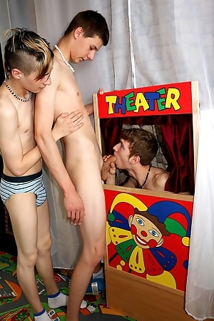 The boys built a little Punch-and-Judy theater.